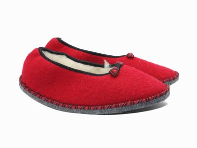Chaussons façon ballerines rouge