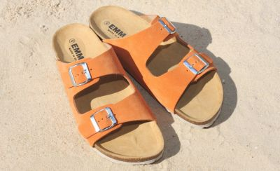 Sandales en cuir velours orange Peps